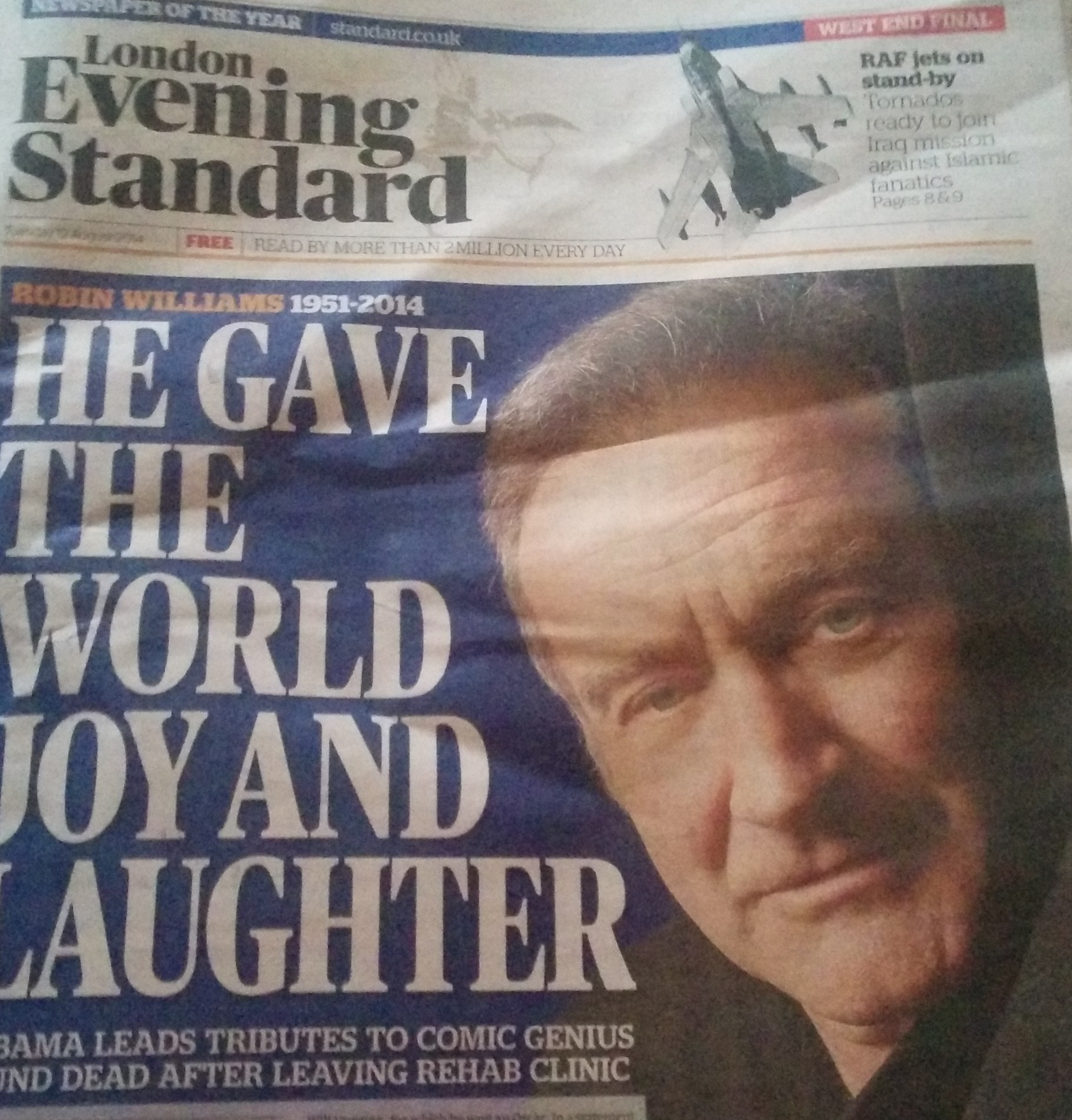 Robin Williams' suicide reported in Evening Standard