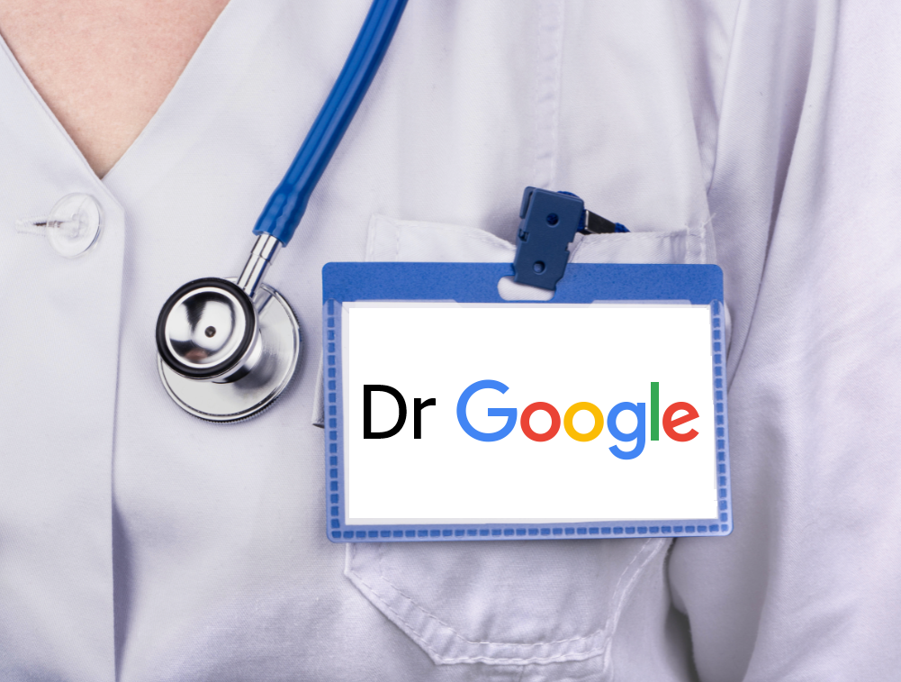 Female doctor with blue stethoscope and badge that says Dr Google